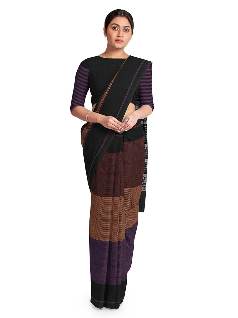Ikat stripe saree