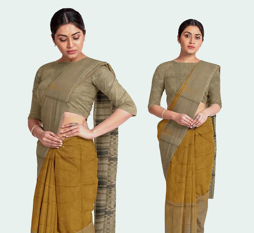bada kumbha fine checkered saree